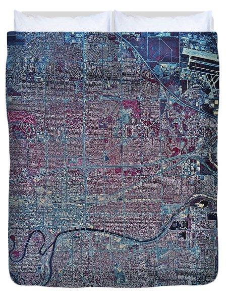 Satellite View Of Wichita, Kansas Duvet Cover by Stocktrek Images