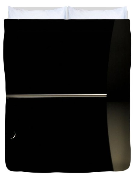Saturn And Its Moon Tethys Duvet Cover by NASA/Science Source