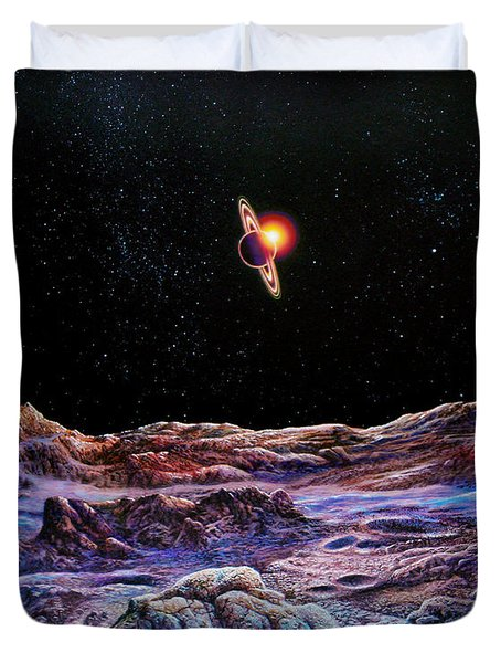 Saturn From Iapetus Duvet Cover by Don Dixon