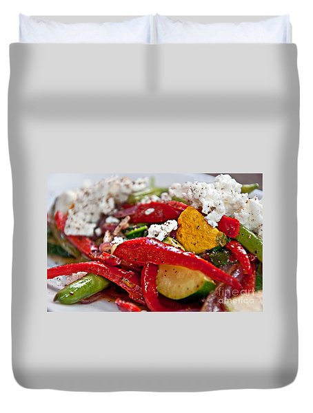 Duvet Cover featuring the photograph Sauteed Vegetables With Feta Cheese Art Prints by Valerie Garner