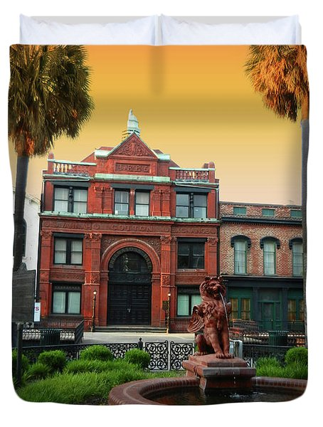 Duvet Cover featuring the photograph Savannah Cotton Exchange by Paul Mashburn
