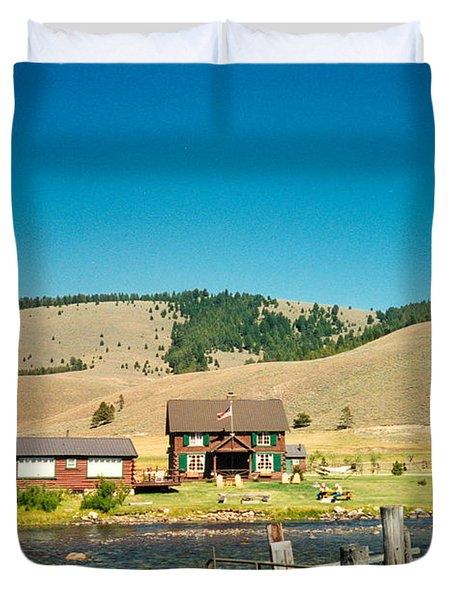 Sawtooth Mountains Campsite Duvet Cover by Douglas Barnett