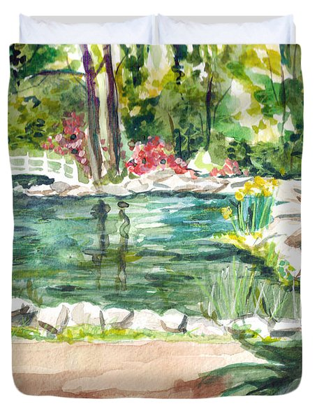 Duvet Cover featuring the painting Sayen Pond by Clara Sue Beym