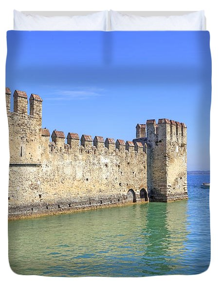 Scaliger Castle Wall Of Sirmione In Lake Garda Duvet Cover by Joana Kruse