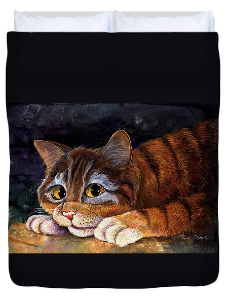 Scaredy Cat Duvet Cover by Sherry Shipley