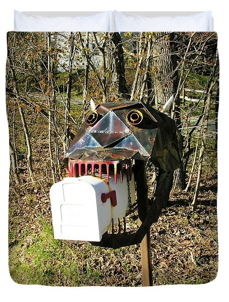 Duvet Cover featuring the photograph Scary Mailbox 3 by Sherman Perry