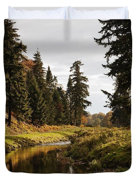 Scenic River, Northumberland, England Duvet Cover by John Short