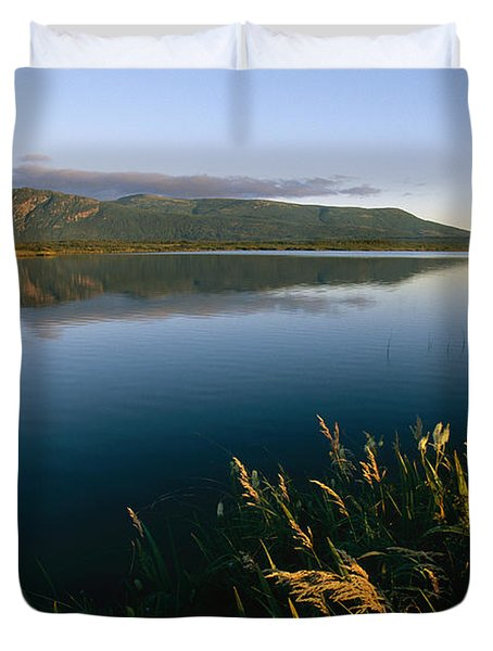 Scenic View Of A Large Pond And Hills Duvet Cover