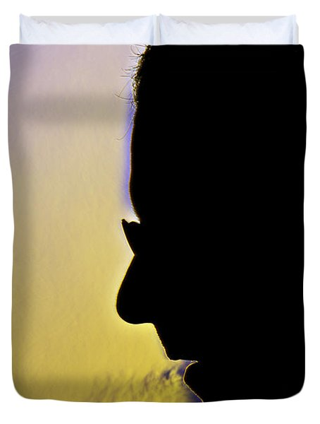 Schlieren Image Of A Man Mouth-breathing Duvet Cover