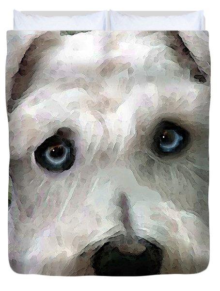 Schnauzer Art - Smokey Duvet Cover by Sharon Cummings