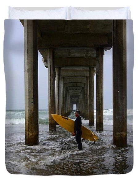 Scripps Pier Surfer 2 Duvet Cover