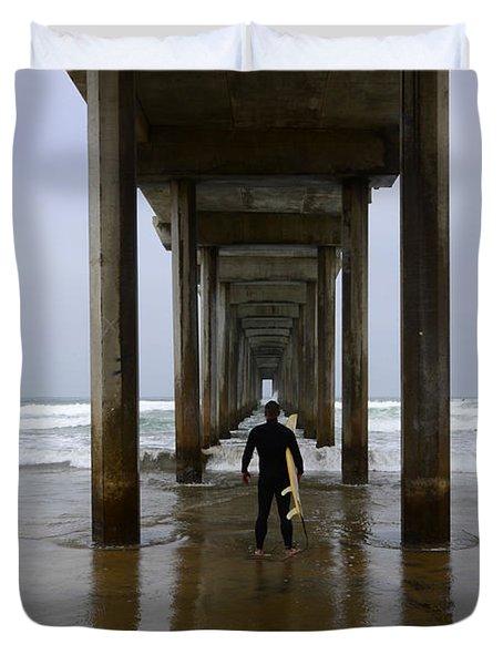 Scripps Pier Surfer 3 Duvet Cover