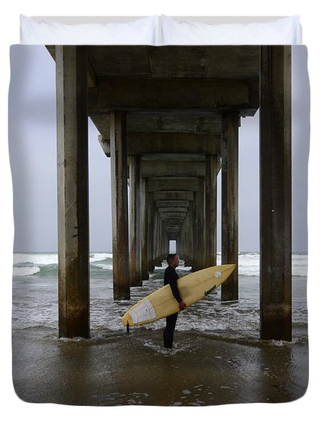 Scripps Pier Surfer Duvet Cover