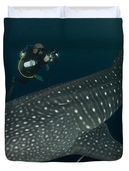 Scuba Diver And Whale Shark, Papua Duvet Cover by Steve Jones