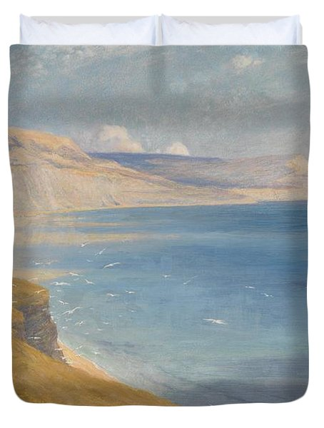 Sea And Sunshine   Lyme Regis Duvet Cover by Sir Frank Dicksee