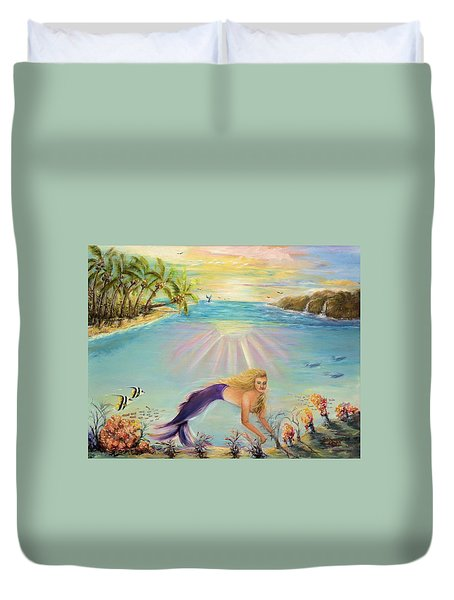 Sea Mermaid Goddess Duvet Cover by Bernadette Krupa