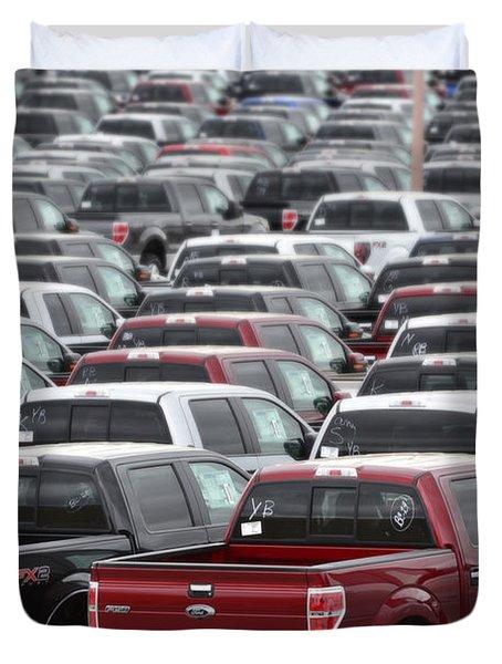 Sea Of Trucks Duvet Cover by Lisa Plymell