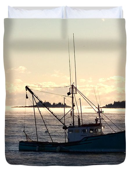 Duvet Cover featuring the photograph Sea-smoke On The Harbor by Brent L Ander