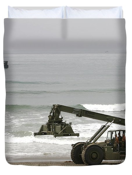 Seabee Loader And Powered Causeway Duvet Cover by Michael Wood