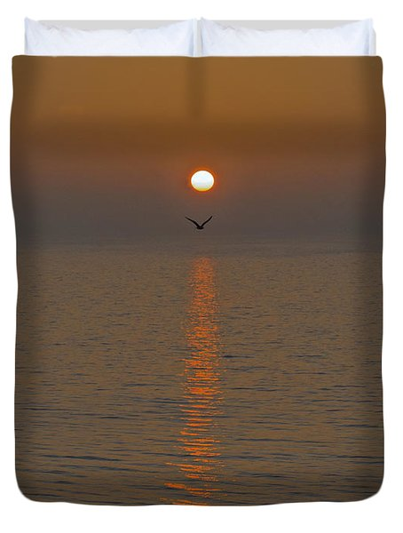 Seagull At First Light Duvet Cover by Gary Eason