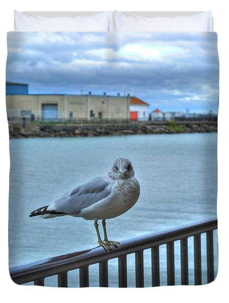 Duvet Cover featuring the photograph Seagull At Lighthouse by Michael Frank Jr