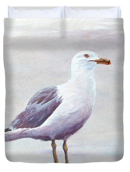 Duvet Cover featuring the painting Seagull by Chriss Pagani