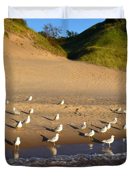 Seagulls At The Bowl Duvet Cover by Michelle Calkins