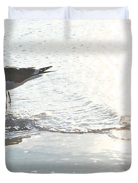 Seagulls In A Shimmer Duvet Cover by Olivia Novak