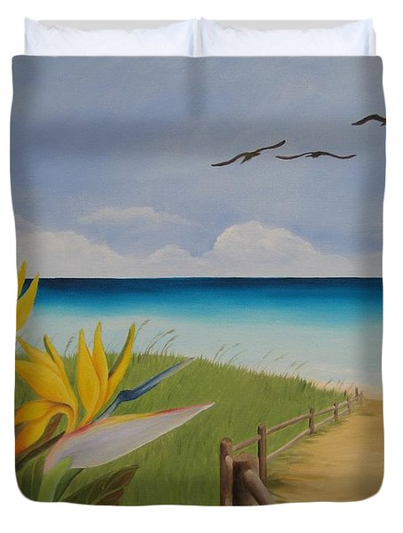 Duvet Cover featuring the painting Seascape by Jindra Noewi