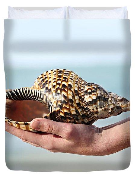 Seashell In Hand Duvet Cover by Elena Elisseeva