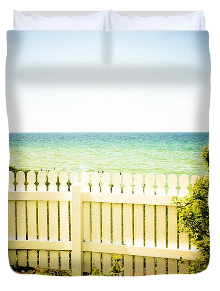 Duvet Cover featuring the photograph Seaside Retreat by Sara Frank