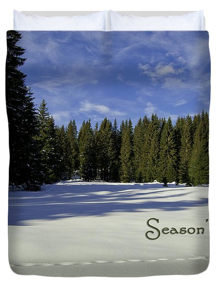 Season's Greetings Austria Europe Duvet Cover by Sabine Jacobs