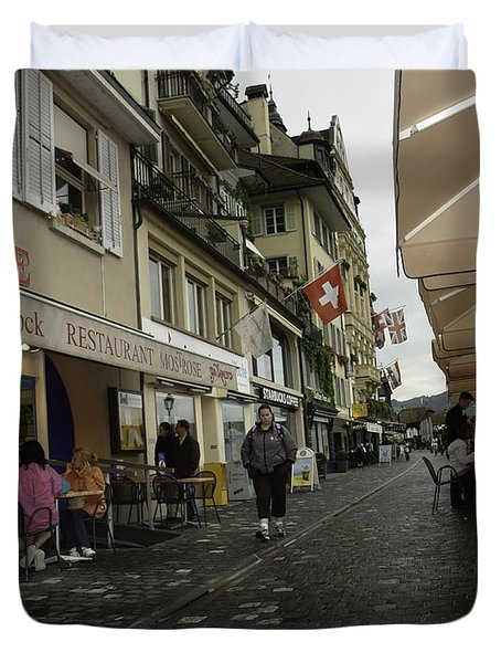 Seated In The Cafe Along The River In Lucerne In Switzerland Duvet Cover by Ashish Agarwal