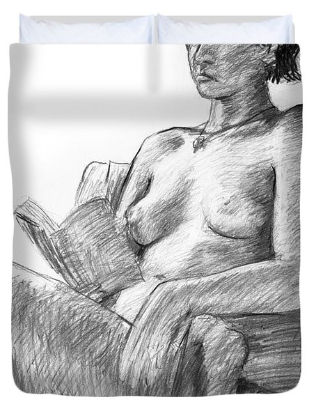 Seated Nude Reading Figure Drawing Duvet Cover by Adam Long