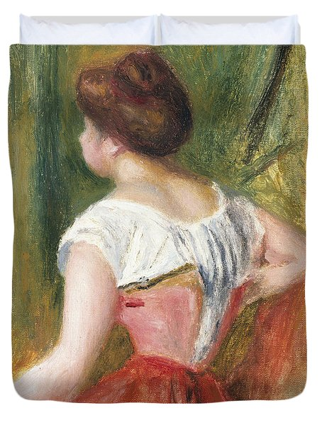 Seated Young Woman Duvet Cover by Pierre Auguste Renoir