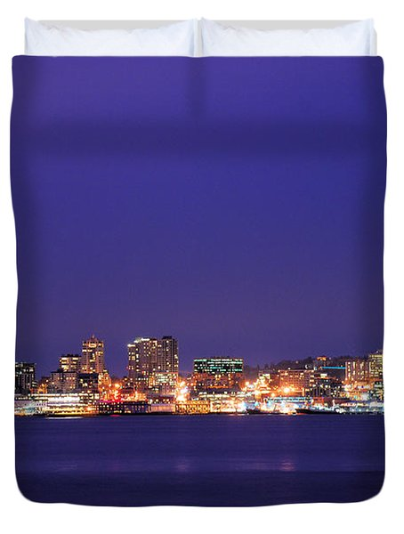 Seattle At Dusk Duvet Cover