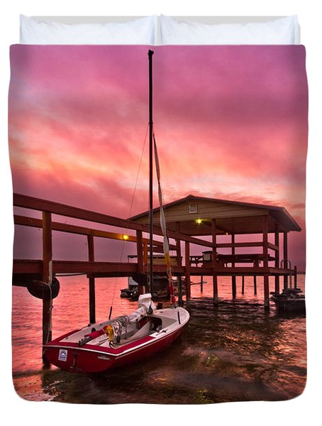 Sebring Sailing Duvet Cover by Debra and Dave Vanderlaan