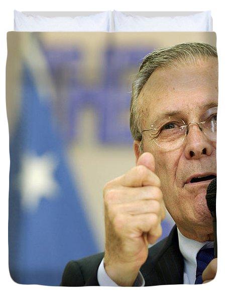 Secretary Of Defense Donald H. Rumsfeld Duvet Cover by Stocktrek Images