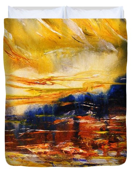 Duvet Cover featuring the painting Sedona Sky by Karen  Ferrand Carroll
