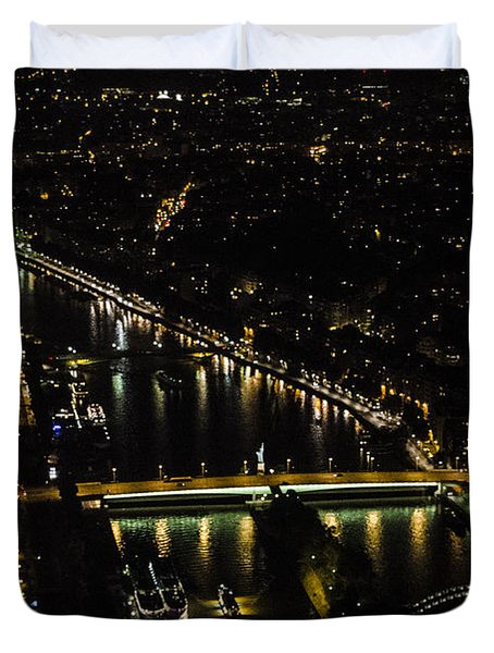 Seine River Atop The Eiffel Tower Duvet Cover