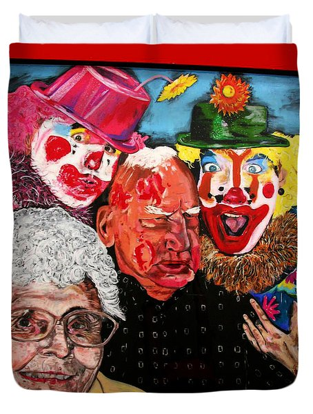 Send In The Clowns Duvet Cover by Karen Elzinga