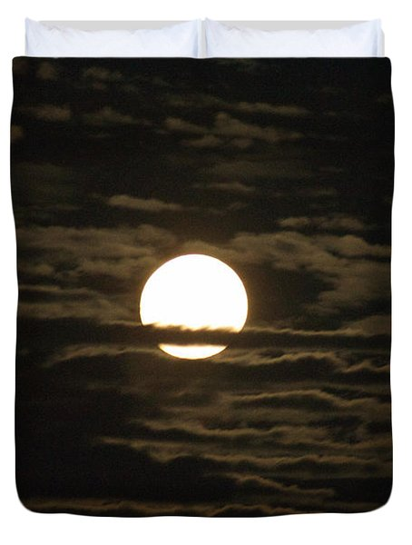 Duvet Cover featuring the photograph Seneca Lake Moon by William Norton