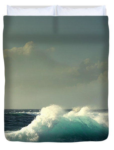 Sennen Surf Seascape Duvet Cover by Linsey Williams