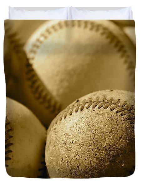 Sepia Baseballs Duvet Cover by Bill Owen