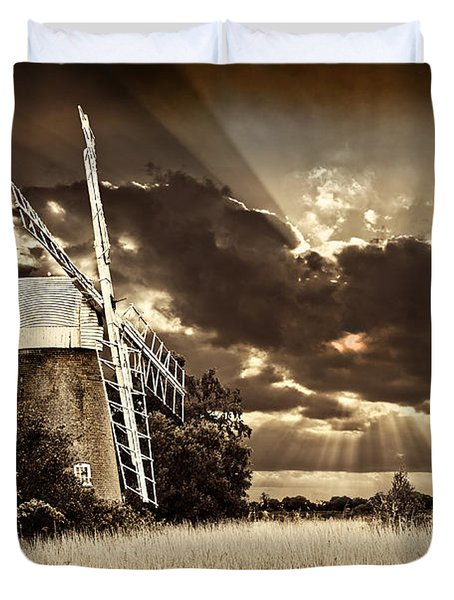 Duvet Cover featuring the photograph Sepia Sky Windmill by Meirion Matthias