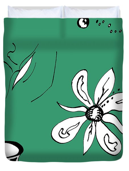 Serenity In Green Duvet Cover by Mary Mikawoz