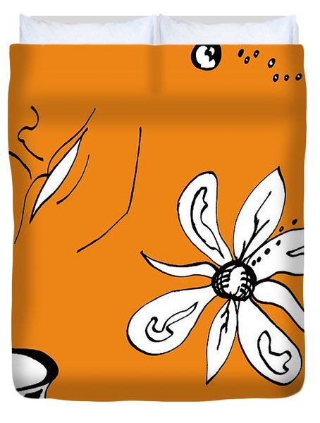 Serenity In Orange Duvet Cover by Mary Mikawoz