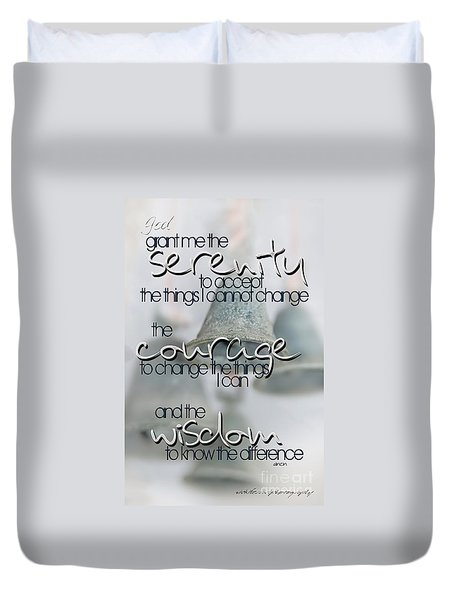 Serenity Prayer With Bells Duvet Cover