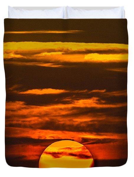Setting Sun Flyby Duvet Cover