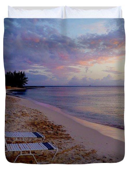 Seven Mile Beach Sunset Duvet Cover by Carey Chen